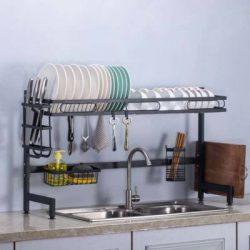 Edényszárító mosogató fölé dupla tálcás