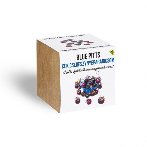 Blue pitts cseresznyeparadicsom növényem fa kockában