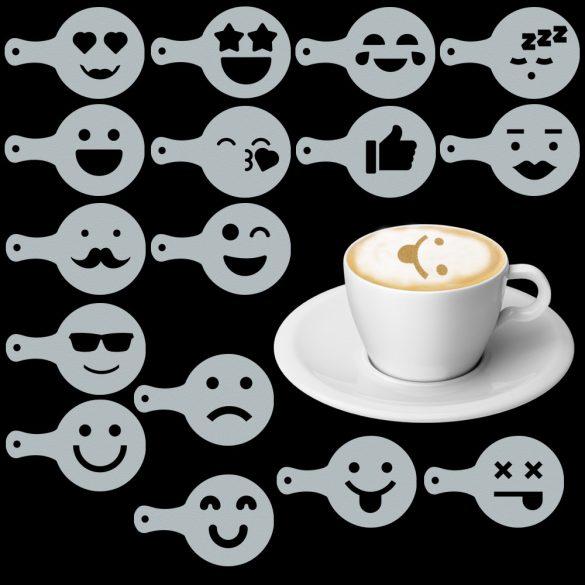 Cappuccino és kávé díszítő Emoji sablonok (16db), Cappuccino és kávé díszítő Emoji sablonok (16db)