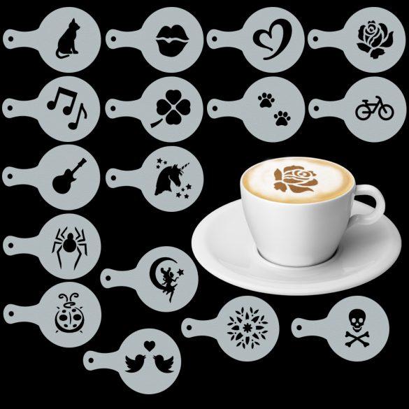 Cappuccino és kávé díszítő vegyes sablonok (16db), Cappuccino és kávé díszítő vegyes sablonok (16db)